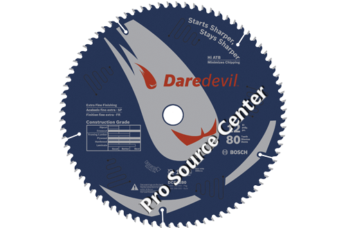 Bosch 12 inch 80 tooth daredevil table and miter saw blade for 12 inch table saw blades