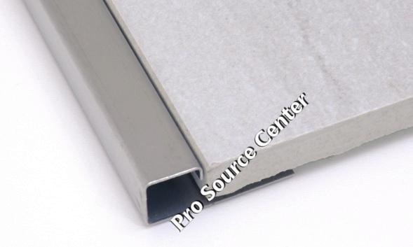 Square Edge Tile Trim 1/2 Inch in Brushed Stainless Steel