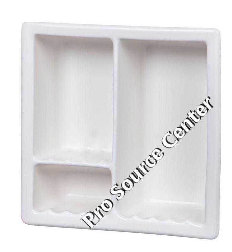 H12RC Three Compartment Large Recessed Ceramic Shower Niche by HCP Industries