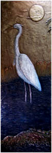Metallic Tile Heron Night Scene 36 x 12 Inches by Tiles-R-Us