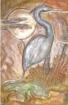 Metallic Tile Water Ways Heron 8 x 12 Inches