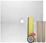 Pro 72 x 72 Shower Systems Tile Kit with Curb Overlays