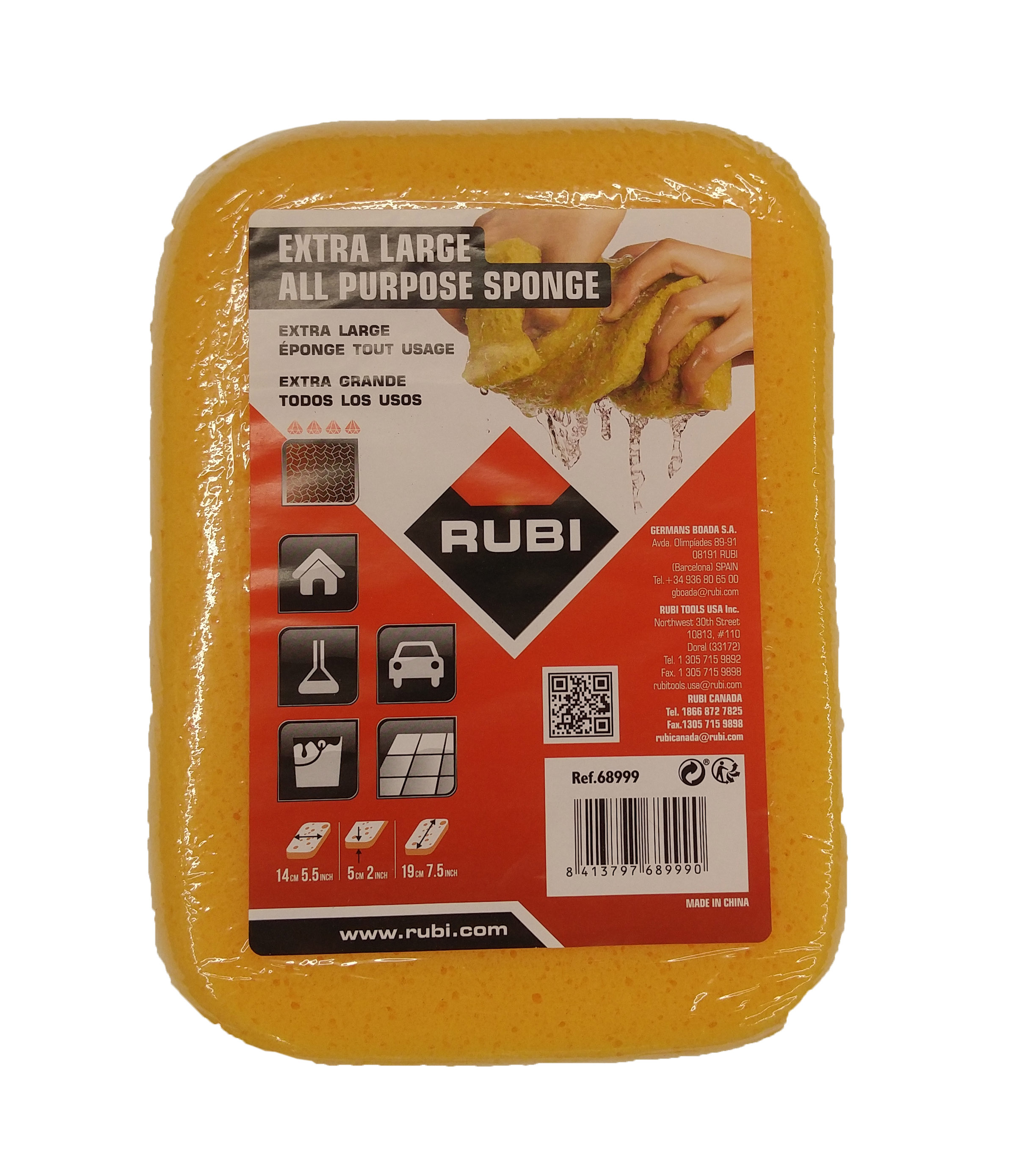 68999 Extra Large Grouting Sponge 7 5 x 5 5 x 2 Inches by Rubi